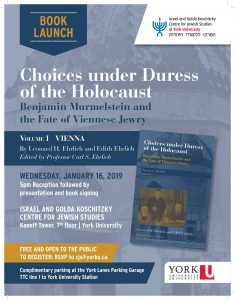 Book Launch: Choices under Duress of the Holocaust: Benjamin Murmelstein and the Fate of Viennese Jewry, Volume I: Vienna @ 7th Floor Kaneff Tower | Toronto | Ontario | Canada
