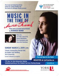 Music in the Time of Anne Frank: Piano Works Presented and Performed by Deborah Nemko @ Tribute Communities Recital Hall, Accolades East Building